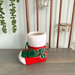 Vintage Christmas Small Knit Stocking Holly Decor